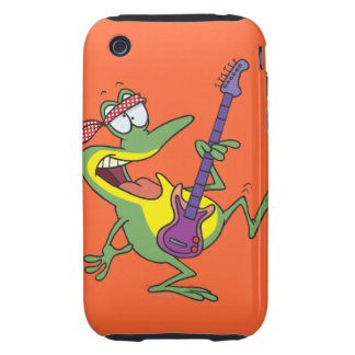 funny rock and roll bass guitar froggy frog iPhone 3 tough cases