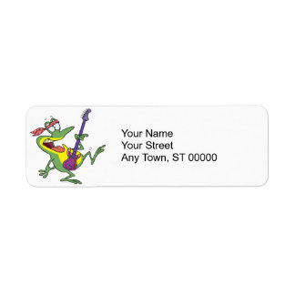 funny rock and roll bass guitar froggy frog label
