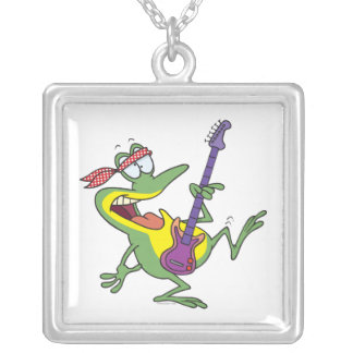 funny rock and roll bass guitar froggy frog square pendant necklace