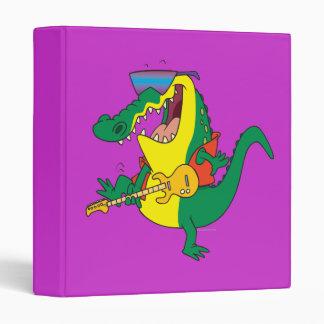 funny rock and roll crocodile music cartoon 3 ring binder
