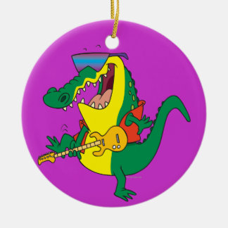 funny rock and roll crocodile music cartoon Double-Sided ceramic round christmas ornament