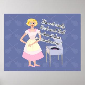 Funny Rock Tambourine Slogan Poster