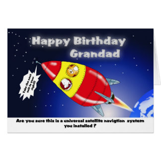 Funny rocket, birthday Grandad Card