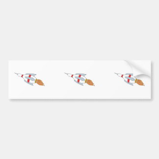 funny rocket bowling pin design cartoon car bumper sticker