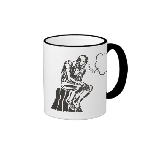 Funny Rodin Thinker Ringer Coffee Mug