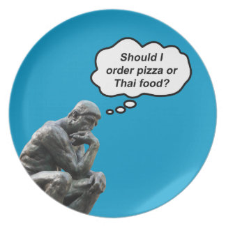 Funny Rodin Thinker Statue - Pizza or Thai Food? Plate