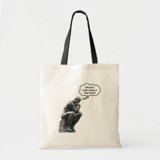 Funny Rodin Thinker Statue - Pizza or Thai Food? Tote Bag