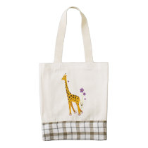 Funny Roller Skating Cartoon Giraffe Zazzle HEART Tote Bag