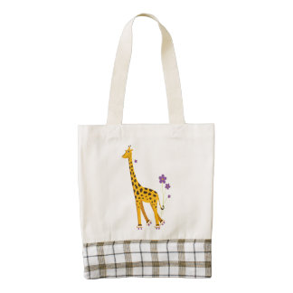 Funny Roller Skating Cartoon Giraffe Zazzle HEART Tote Bag