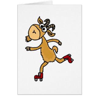 Funny Roller Skating Goat Scapegoat Greeting Card