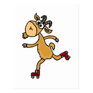 Funny Roller Skating Goat Scapegoat Postcard