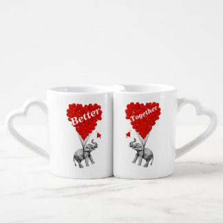 Funny romantic elephant coffee mug set