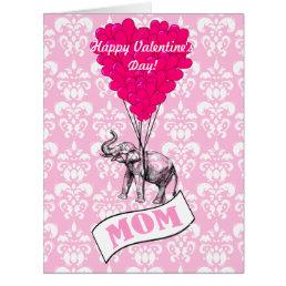 Funny romantic elephant valentines card