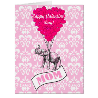 Funny romantic elephant valentines large greeting card