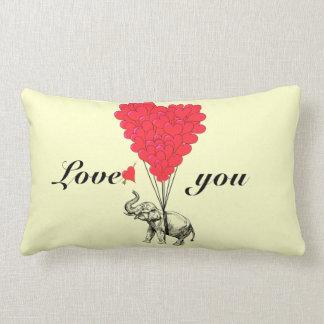 Funny romantic elephant Valentines Lumbar Pillow