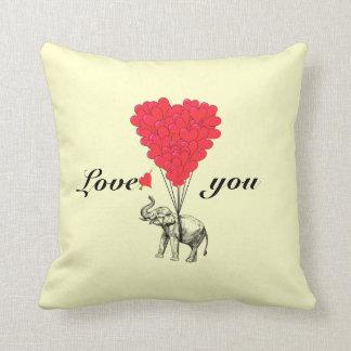 Funny romantic elephant Valentines Throw Pillow
