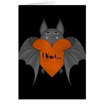 Halloween Themed Funny romantic Halloween vampire bat Card