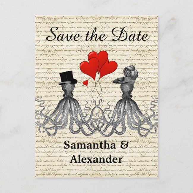 Funny romantic octopus steampunk save the date announcement postcard