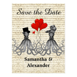 Funny romantic octopus steampunk save the date postcard