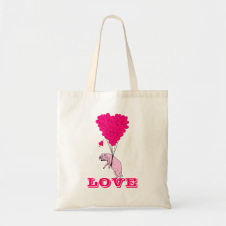 Funny romantic pig valentines love tote bag
