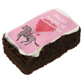Funny romantic sweet 16 birthday brownie