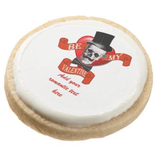 Funny romantic valentines day round shortbread cookie
