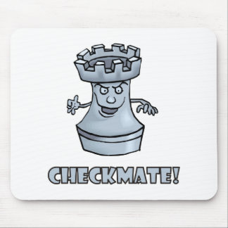 Funny rook chess piece (cartoon) checkmate! mousepad