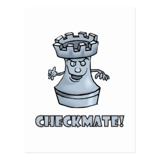 Funny rook chess piece (cartoon) checkmate! postcard