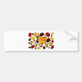 Funny Rooster and Chickens Art Abstract Bumper Sticker