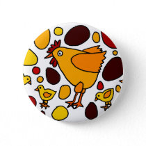 Funny Rooster and Chickens Art Abstract Pinback Button