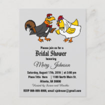 Funny Rooster and Hen Wedding Invitation Postcard