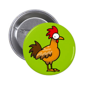 Funny rooster pinback buttons