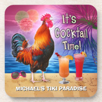 Funny Rooster Chicken Cocktail Tropical Beach Name Drink Coaster