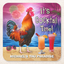 Funny Rooster Chicken Cocktail Tropical Beach Name Square Paper Coaster