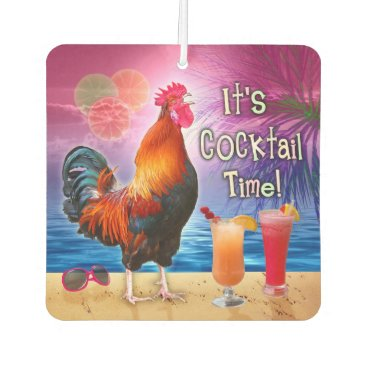 Beach Themed Funny Rooster Chicken Cocktails Tropical Beach Sea Air Freshener