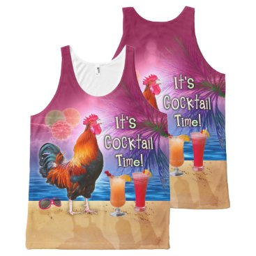 Beach Themed Funny Rooster Chicken Cocktails Tropical Beach Sea All-Over-Print Tank Top