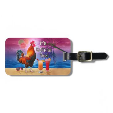 Beach Themed Funny Rooster Chicken Cocktails Tropical Beach Sea Bag Tag