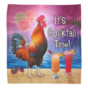 Beach Themed Funny Rooster Chicken Cocktails Tropical Beach Sea Bandana