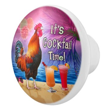 Beach Themed Funny Rooster Chicken Cocktails Tropical Beach Sea Ceramic Knob