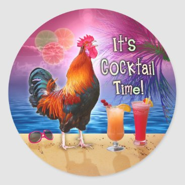 Beach Themed Funny Rooster Chicken Cocktails Tropical Beach Sea Classic Round Sticker