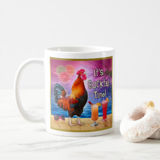 Funny Rooster Chicken Cocktails Tropical Beach Sea Coffee Mug