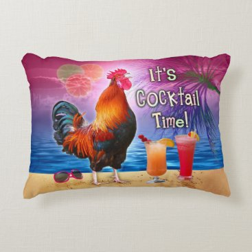 Beach Themed Funny Rooster Chicken Cocktails Tropical Beach Sea Decorative Pillow