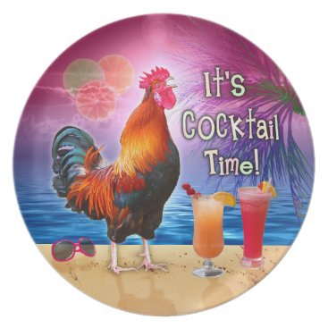 Beach Themed Funny Rooster Chicken Cocktails Tropical Beach Sea Dinner Plate