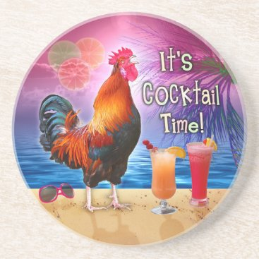 Beach Themed Funny Rooster Chicken Cocktails Tropical Beach Sea Drink Coaster