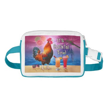 Beach Themed Funny Rooster Chicken Cocktails Tropical Beach Sea Fanny Pack