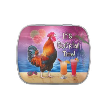 Funny Rooster Chicken Cocktails Tropical Beach Sea Jelly Belly Tin