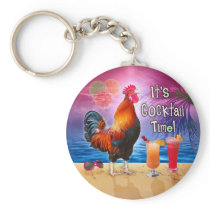 Funny Rooster Chicken Cocktails Tropical Beach Sea Keychain