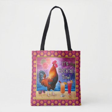 Beach Themed Funny Rooster Chicken Cocktails Tropical Beach Sea Tote Bag