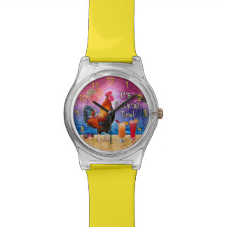 Funny Rooster Chicken Cocktails Tropical Beach Sea Wrist Watch
