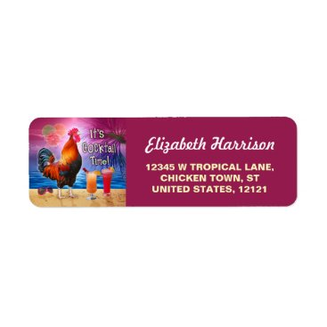 Beach Themed Funny Rooster Chicken CocktailTropical Beach Sea Label